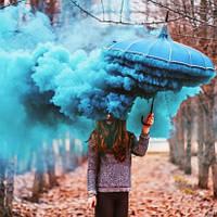 Синій дим для фотосесії, Кольоровий дим Maxsem smoke, димова шашка, синій дим (Середня насиченість)