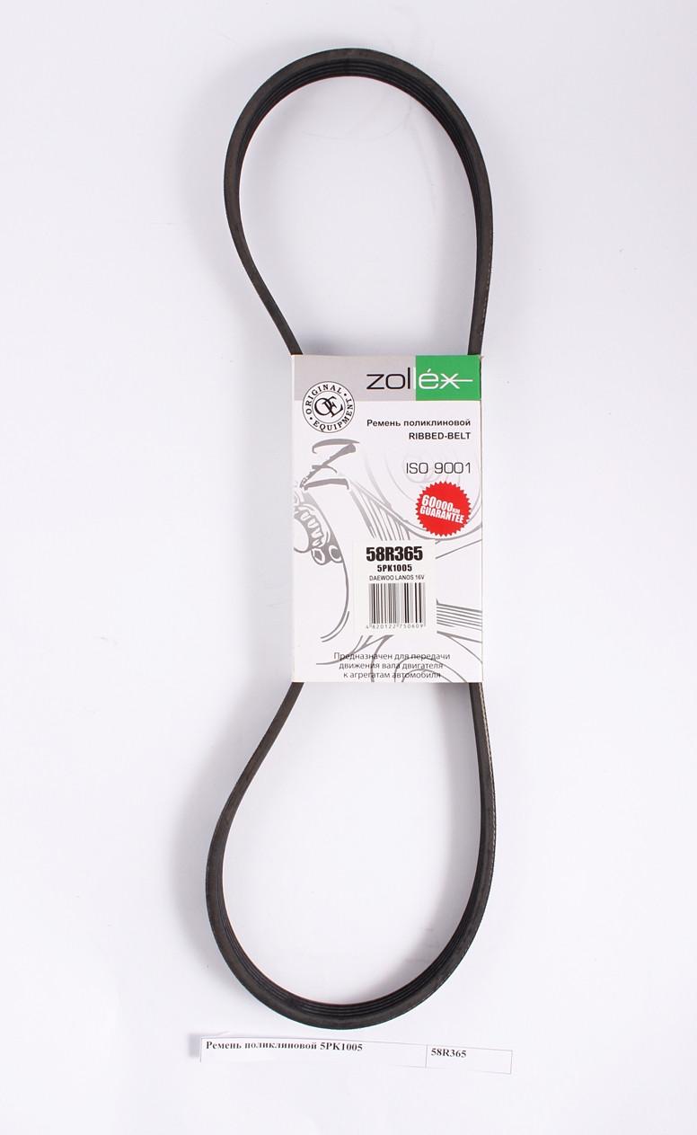 Zollex Ремень поликлиновой 58R365 5PK1013 Lanos з ГУР 1,6