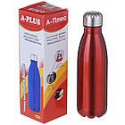 Термос пляшка питний A-PLUS 500 мл Червоний перламутр нержавіюча сталь, фото 3
