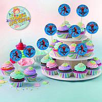 Топперы Человек паук для кексов, маффинов, капкейков (10 шт)-
