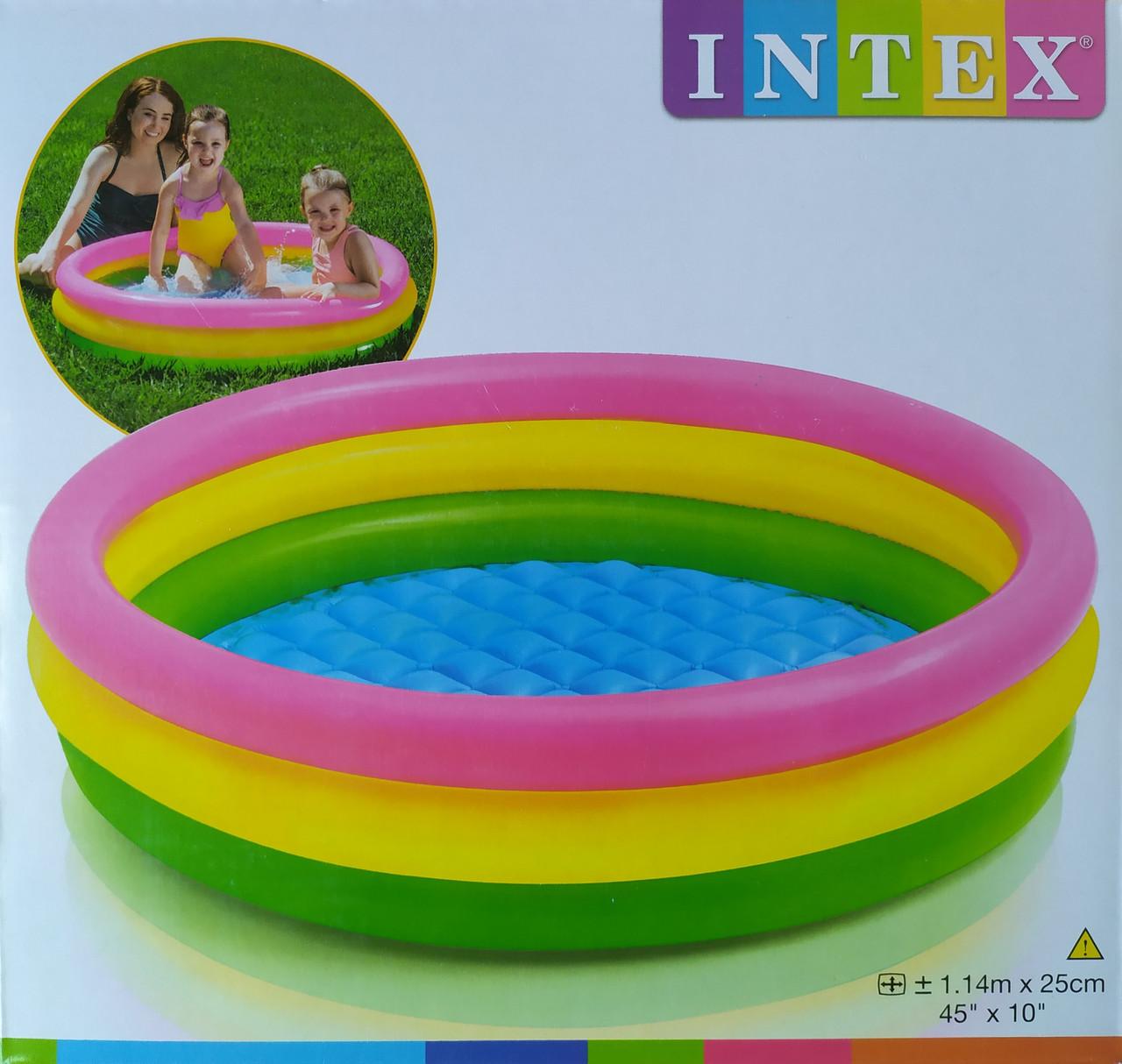 Бассейн детский надувной Intex Радуга 114х25см мягкое дно (57412)