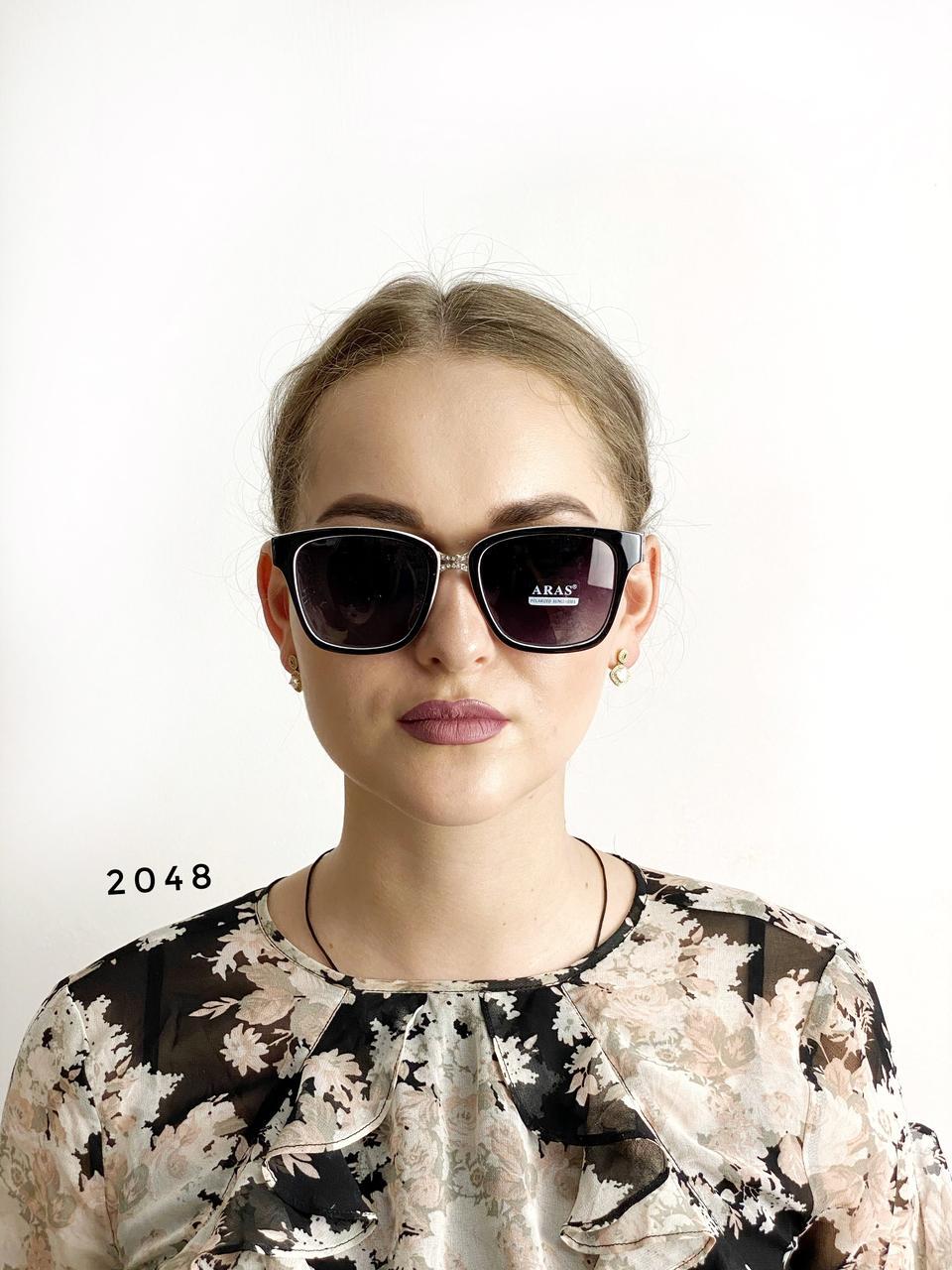 Солнцезащитные очки Aras Polarized черные линзы с белыми дужками