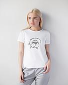 Женская футболка Модерн, белый принт Beauty (глазик)