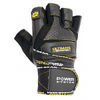 Перчатки для тяжелой атлетики Power System Ultimate Motivation PS-2810 L Black/Yellow, фото 1