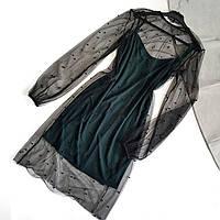 Платье зеленое на тонких бретелях с черной сеткой-накидкой с бусинами