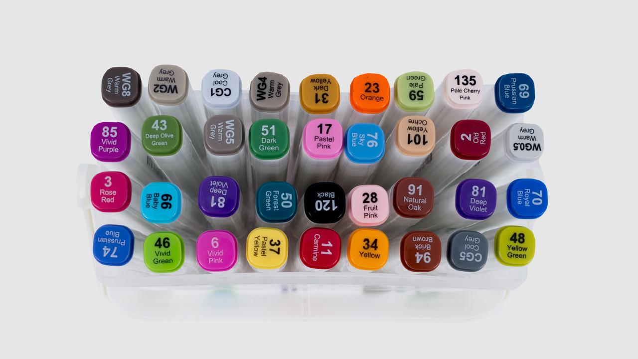 Набор скетч-маркеров 36 шт для рисования двусторонних Aihao sketchmarker, код: PM508-36