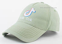 Женская бейсболка цвета брезент с вышивкой Tik Tok