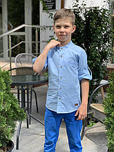 Рубашка льняная для мальчиков на 6-11 лет