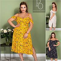 Р 48-62 Летнее натуральное платье в цветочек Батал 21823