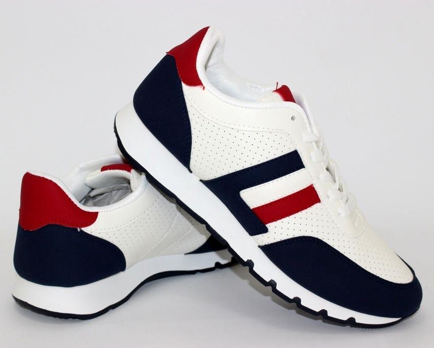 Мужские кроссовки для прогулок с сине красными вставками