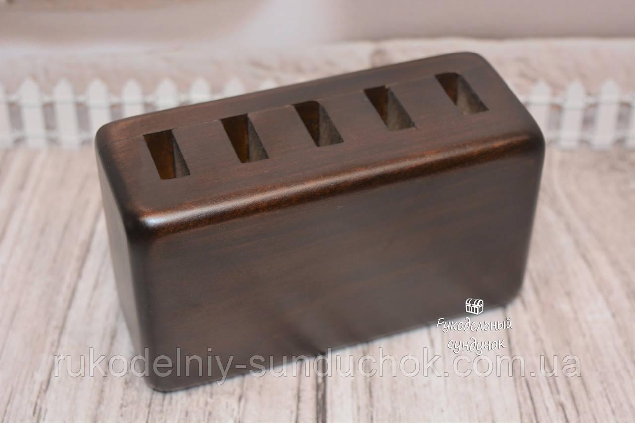 Деревянная прямоугольная подставка для ножниц (5 отверстий) (тёмный орех)