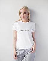 Жіноча футболка Модерн, білий принт Med entusiasm, фото 1