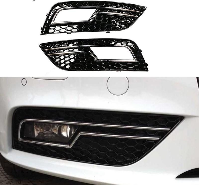 Решетки боковые в бампер Audi A4 B8 (12-15) рестайлинг стиль RS4 (хром)