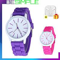 Стильные наручные женские часы Geneva / Кварцевые часы + Наушники в Подарок