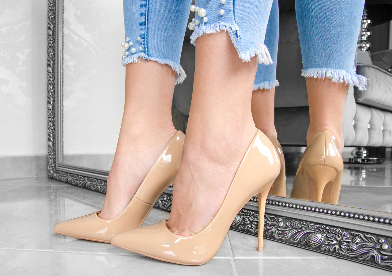 Лакированные женские туфли лодочки на высоком каблуке