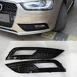 Решетки боковые в бампер Audi A4 B8 (12-15) рестайлинг стиль RS4 (черная)
