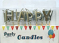Свечи в торт Happy Birthday С Днем Рождения Серебро