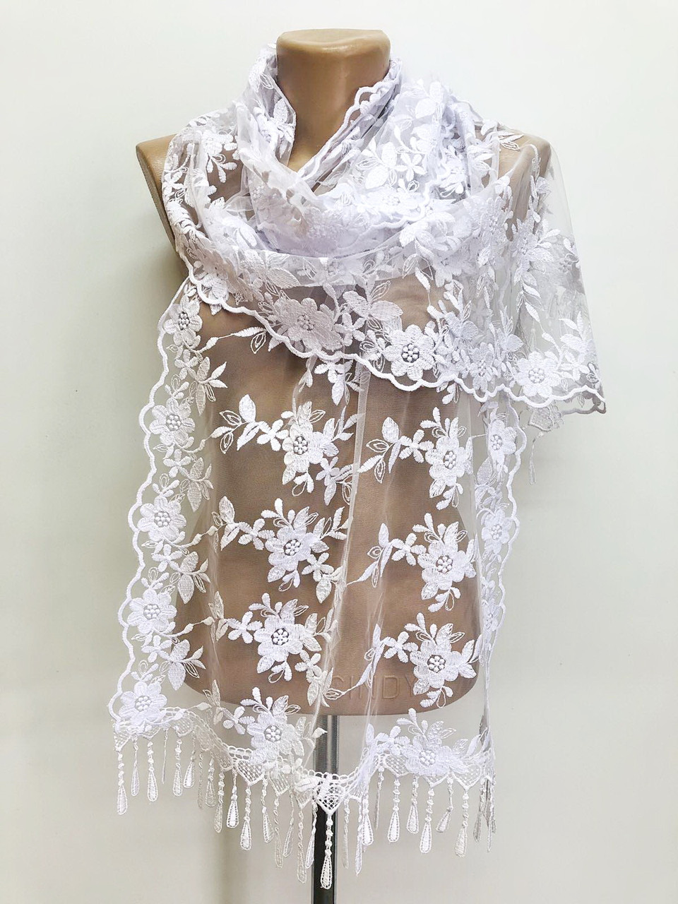 Шарф белый ажурный фатиновый свадебный церковный 150017
