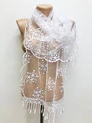 Шарф белый ажурный фатиновый свадебный церковный 150019