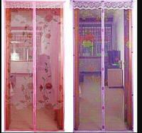 Антимоскітна сітка шторка Magic Mesh 100*210 см Фіолетовий, Рожева