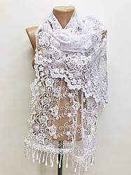 Шарф белый ажурный фатиновый свадебный церковный 150020