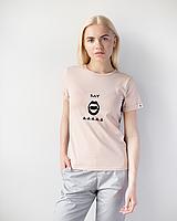 Жіноча футболка Модерн, беж принт Say AAA, фото 1