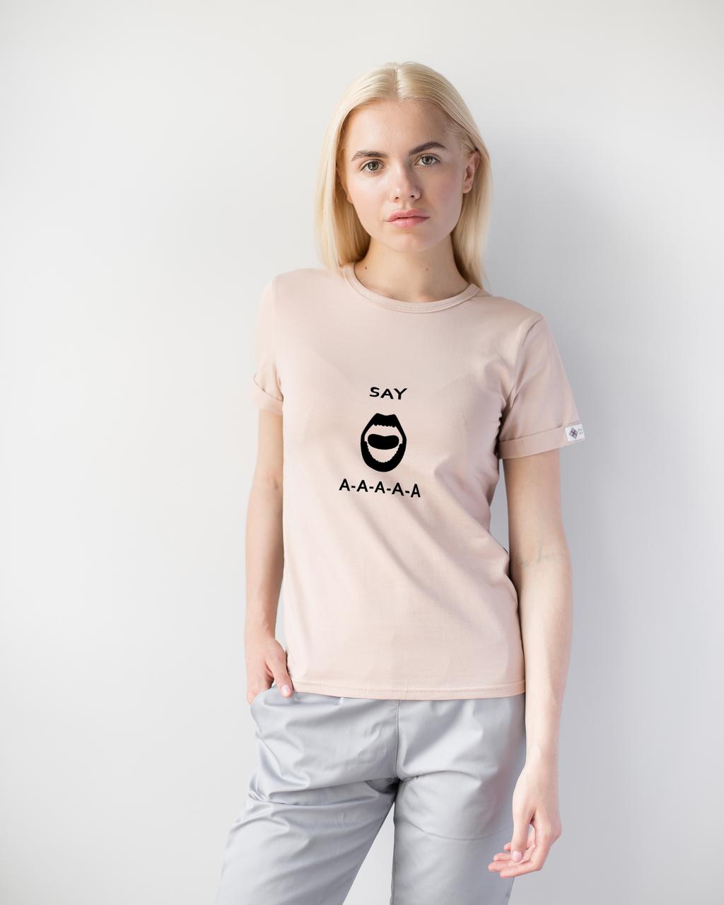 Жіноча футболка Модерн, беж принт Say AAA