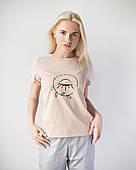 Женская футболка Модерн, беж принт Beauty (глазик)