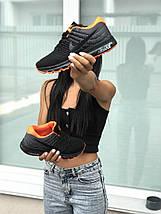 Женские Кроссовки черные с оранжевым летние легкие, фото 3