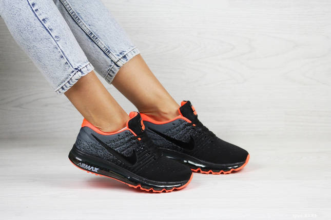 Женские Кроссовки черные с оранжевым летние легкие, фото 2