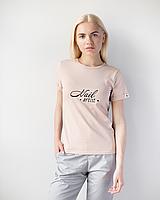 Жіноча футболка Модерн, беж принт Nail artist, фото 1