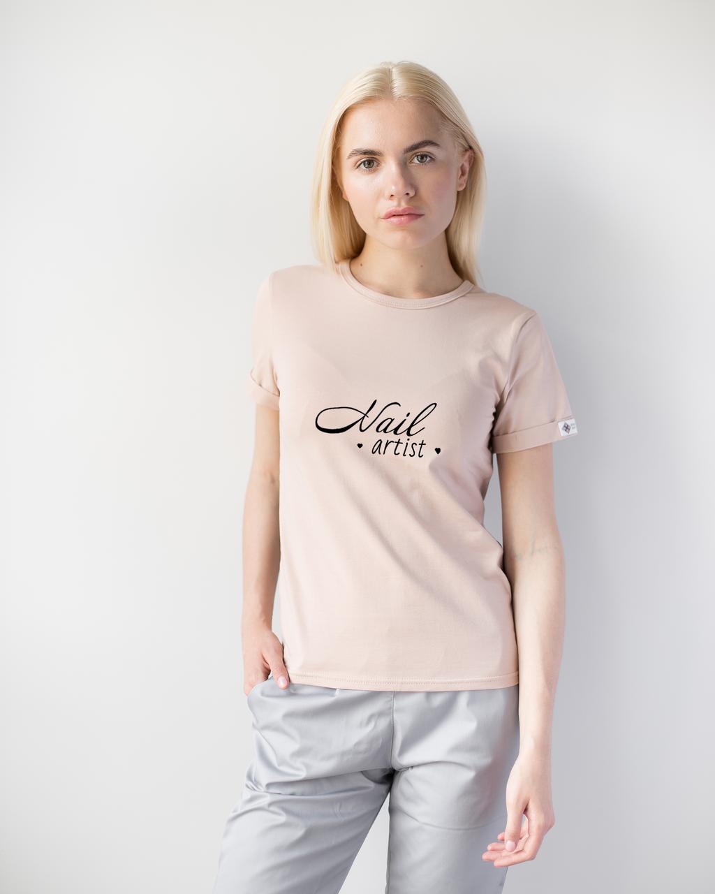 Женская футболка Модерн, беж принт Nail artist
