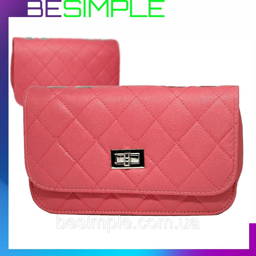 Женская сумка клатч Chanel / Дамская сумочка Розовая