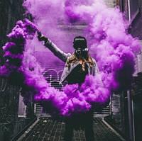 Фіолетовий дим для фотосесії, Кольоровий дим Jorge, фіолетовий дим (Висока насиченість)