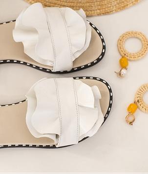 Белые кожаные босоножки на плоской подошве без каблука, кожа размеры 36-42, фото 2
