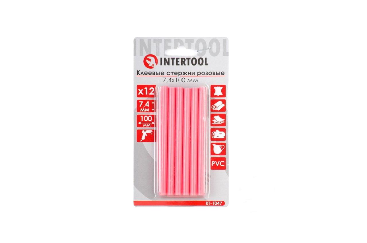 Клеевые стержни Intertool - 7,4 x 100 мм, розовые (12 шт.)