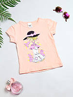 Футболка для девочки  Princess, цвет персиковый (рост 98)
