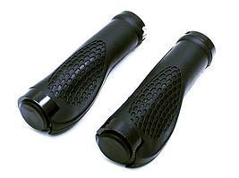 Грипсы каучуковые,ручки на руль велосипеда рифленые с заглушками и замками (черный)