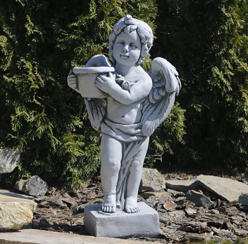 Садова скульптура Ангел з квітковим горщиком 30x23x61cm