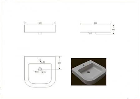 Раковина 500*500*145,1512130 OPTIMA  біла Devit, фото 2