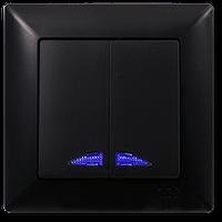 Выключатель двухклавишный с подсветкой Gunsan Visage Ambiance Черный (01 28 34 00 100 104)
