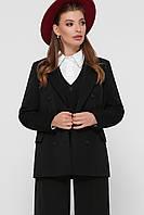 Классический двубортный черный пиджак женский однотонный размер 42,44,46,48