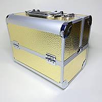 Бьюти кейс  чемодан для мастера маникюра, парикмахера, визажиста с полками золотой
