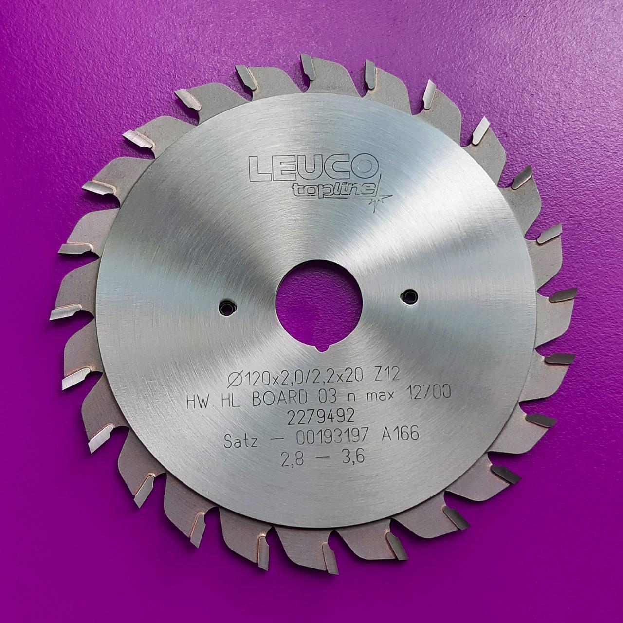 """Двухкорпусные подрезные дисковые пилы Leuco с регулировочными кольцами, 120х2,8-3,6х2,2х20 z=12+12, """"F"""" зуб"""