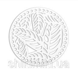 """Акриловая заготовка ажурная """" Листья белые"""",16 см"""
