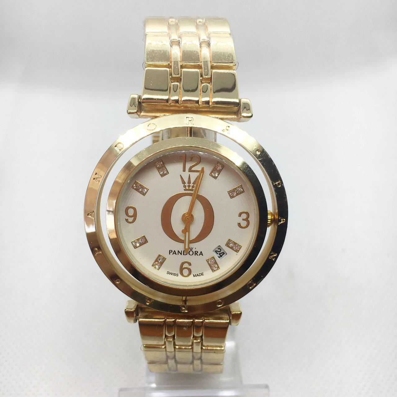 Часы женские наручные Pandora (Пандора), цвет золото с белым циферблатом ( код: IBW393YO )