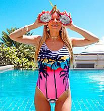 Женский слитный купальник с пальмами с завышенной линией бедра