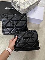Женская брендовая сумка Prada Прада цвет черный, женские модные сумки, брендовые сумки