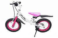 Детский беговел Take&Ride на резиновых надувных колесах с ручным тормозом RB-40 Favorite бело-розовый.