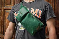 Чоловіча зелена бананка, Напоясная шкіряна сумка